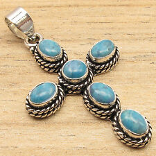 Natural LARIMAR Gems Fine Quality Jewelry CROSS Pendant Blue , 925 Silver Plated