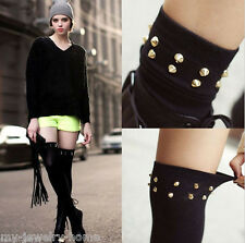 Hot Sexy Women  Party Punk Gothic Rivet Black Hosiery Thigh-High Socks Stockings