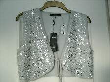 Grey Sequin Sleeveless Viscose Bolero size 16 - NEW