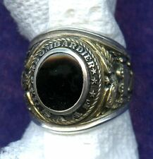 VINTAGE ~ WWII BOMBARDIER USAAF .925 STERLING ONYX RING AIR FORCE ~ SIZE 8.5