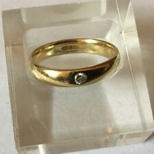HM 18ct 18k Yellow Gold D Shape Comfort Fit Wedding Band Ring Diamond 4mm Wide Q