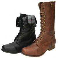Black Brown Flat Military Combat Lace Up Zip Mid Calf Ankle Victorian Boots