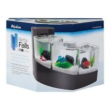 Aqueon Betta Falls Desktop Aquarium 3 Separate Chambers  - Black (3-Way) Tank