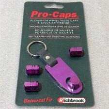 NEW RICHBRROOK VALVE CAP SET + KEYRING TYRE ALLOY WHEEL VALVE DUST CAPS PURPLE