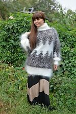 New Sweater Turtleneck thick Hand knitted goat down Mohair Angora Unisex Size: M