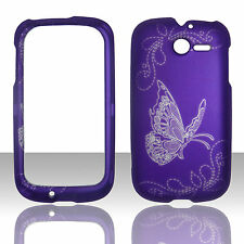 2D purple butterfly  For Huawei ascend Y M866   H866C rubberize feel Cover Case