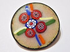 VINTAGE ARTSY COPPER ENAMEL COLORFUL WITH MILLIFIORE FLOWERS SMALL SCATTER PIN