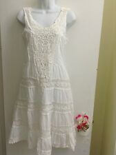 BELLA MODA Women's Embroidered/Lace spring/summer cotton sundress/White. New.S