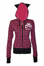BNWT Death Kitty Pink/Black Dogtooth Cat Ears Hoodie Zip Top Goth/Emo/Kawaii S/M