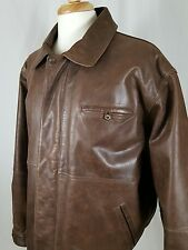 Timberland WeatherGear Cowhide Leather Bomber Style Jacket Coat Men's L Brown