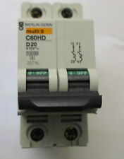 2x Merlin Gerin Multi 9 20A 2P Double Pole Circuit Breaker MCB C60HD