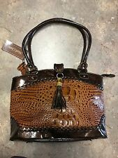 Madi Claire Chestnut Brown Croco Embossed Leather Handbag, NWT