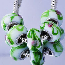 5pcs silver gold filled Lampwork Murano Glass Charm European Beads Fit Bracelet