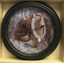 Hanging Wall Clock Western Home Decor Accent.Collage of Cowboy hat,Rope, BOOTS.