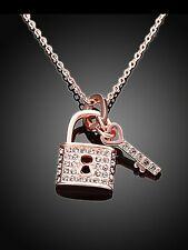 LADIES ROSE GOLD NECKLACE LOCK AND KEY PENDANT QUALITY AUSTRIAN CRYSTAL