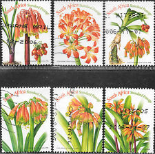 SOUTH AFRICA 2006 CLIVIA FLOWERS POSTALLY USED Sc#1363 a-f BoB2186