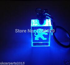 Crystal blue led light car key chain keyring fob for PEUGEOT 208 107 206 308 sw
