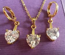 SEC74 Sim diamond hearts real gold filled necklace & earrings BOXED Plum UK