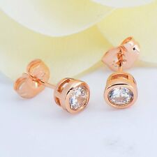 rose gold filled rhinestone lucky womens cute small stud earrings wholesale lot