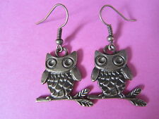 Bronze Tone Vintage Wide Eye Sitting Wise Owl Charm Earrings New Kitsch Animal