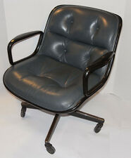VINTAGE POLLOCK EXECUTIVE GRAY LEATHER CHAIR! KNOLL! ARMS! CASTERS! BLACK BACK!