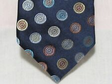 "Ted Baker Tie, 100% Silk, Dark Blue with Colored Circles, 3"" x 60"""