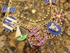 Betsey Johnson Sailboat Anchor Gold Charm Necklace Nautical Marine Chunky Anchor