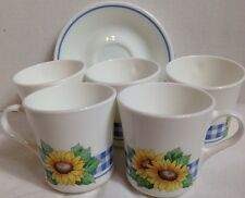 Lot of 5 Corelle Sunsations Sunflower 5 Coffee Cups And 3 Saucers Yellow Blue