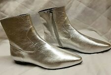 ZARA NEW SILVER LAMINATED POINTED REAL LEATHER METALLIC FLAT ANKLE BOOTS SIZE 5