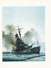 "1976 Marine Color Plate ""Details Sink The Tirpitz!"" Chris Mayger WAR SHIP PRINT"