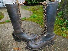 VINTAGE WESCO HIGHLINER BLACK LEATHER LINESMAN BOOTS SIZE 10