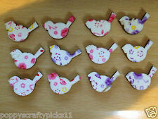 12 MINI FLORAL WOODEN BIRDS CARD MAKING CRAFT EMBELLISHMENTS CLEARANCE