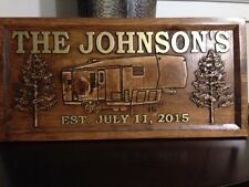 """11"""" x 23"""" Wood Carved Personalized Camper Sign, 4 Pattern Choices"""