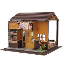 Wooden Dollhouse Miniature DIY Kits Doll house w/Light -Japanese sushi Model