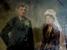 Antique Hand-Colored Full Plate Tintype Photograph Wedding Picture & Wood Frame