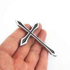 3D Christianity Chrome/Black Latin Cross Emblem Plastic on Fender Tailgate Hood