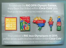 2016 RIO OLYMPIC WORLDWIDE PARTNER MCDONALDS COCA COLA PIN SET 4 PIN