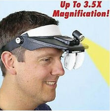 4 Lenses Magnifier Headset Light Lamp Head Band Set led
