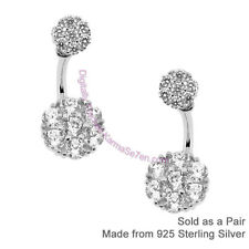 Sterling Silver & CZ Pretty Flower Cluster Front & Back Earring Ear Jackets