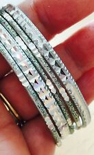 5 Pale Blue Sparkling Bangle Bracelets Wear One or All Thin & Lightweight