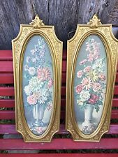 VINTAGE HOME INTERIOR HOMCO RECTANGLE VASES of FLOWERS FLORAL PICTURES