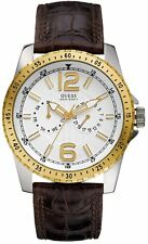 New Authentic GUESS Men Brown Leather Strap White Dial Watch U12006G1  with tag