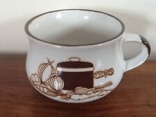 Large Vintage Soup Bowl Cup Dish Ceramic Handled 70s Retro Vegetables Carrot Pea