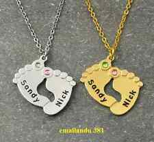 Two Baby Name Feet Necklace Pendant Birth Stone Silver Gold Custom sale offer