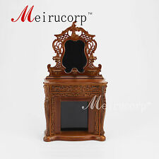 Dolls house 1/12th Scale Miniature furniture Hand Carved Fireplace and mirror