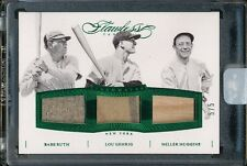 2016 FLAWLESS BABE RUTH LOU GEHRIG MILLER HUGGINS 5/5 TRIPLE GAME-WORN MATERIALS