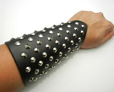 "Tew601 - 7"" Full Metal Studs Leather Bracer Arm Armor Cuff Gothic Cosplay Punk"