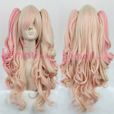 65cm long mixed blonde/pink Lolita clip on ponytail wave cosplay wig AE240