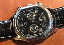 STAUER Meisterzeit Silver Automatic Multi Function Dial Watch On Black Leather