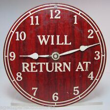Old WILL RETURN AT / OPEN COME IN Double Sided Store Sign adjustable hours tin